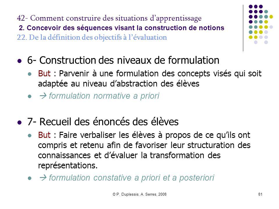© P. Duplessis, A. Serres, 200881 42- Comment construire des situations d'apprentissage 2. Concevoir des séquences visant la construction de notions 2