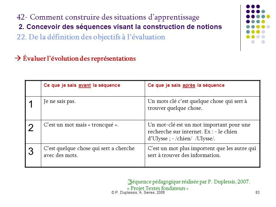 © P. Duplessis, A. Serres, 200883 42- Comment construire des situations d'apprentissage 2. Concevoir des séquences visant la construction de notions 2