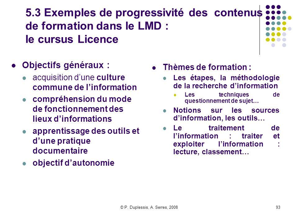 © P. Duplessis, A. Serres, 200893 5.3 Exemples de progressivité des contenus de formation dans le LMD : le cursus Licence Objectifs généraux : acquisi