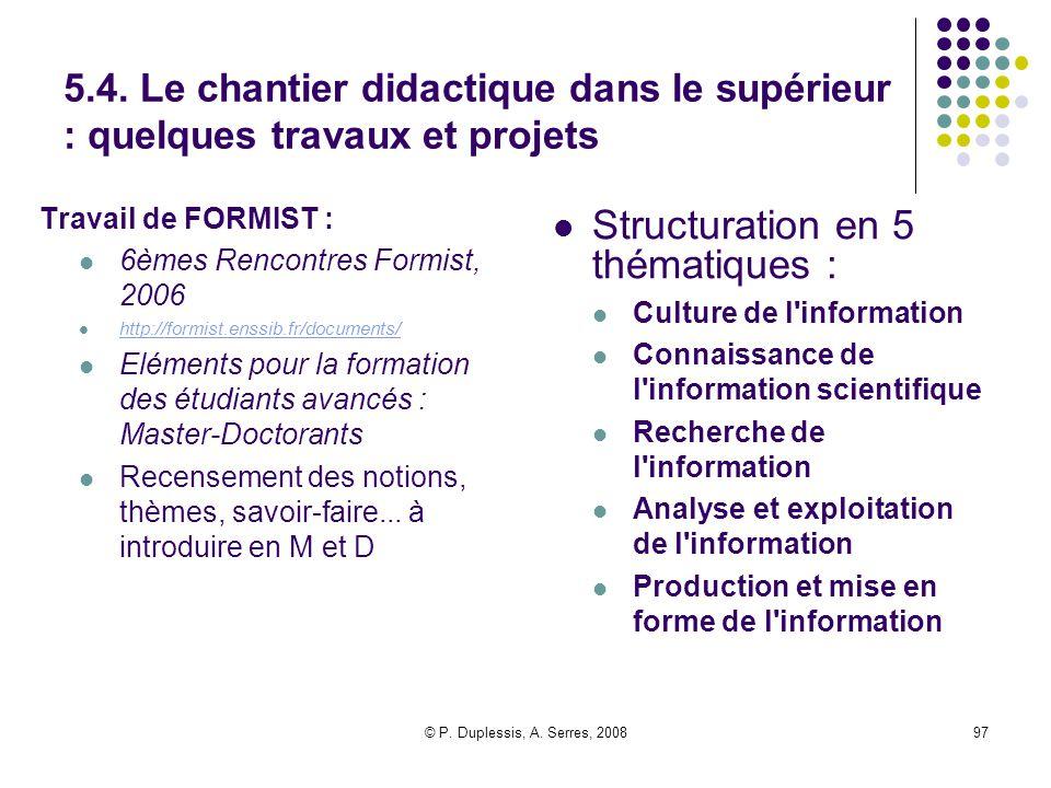 © P. Duplessis, A. Serres, 200897 5.4. Le chantier didactique dans le supérieur : quelques travaux et projets Travail de FORMIST : 6èmes Rencontres Fo