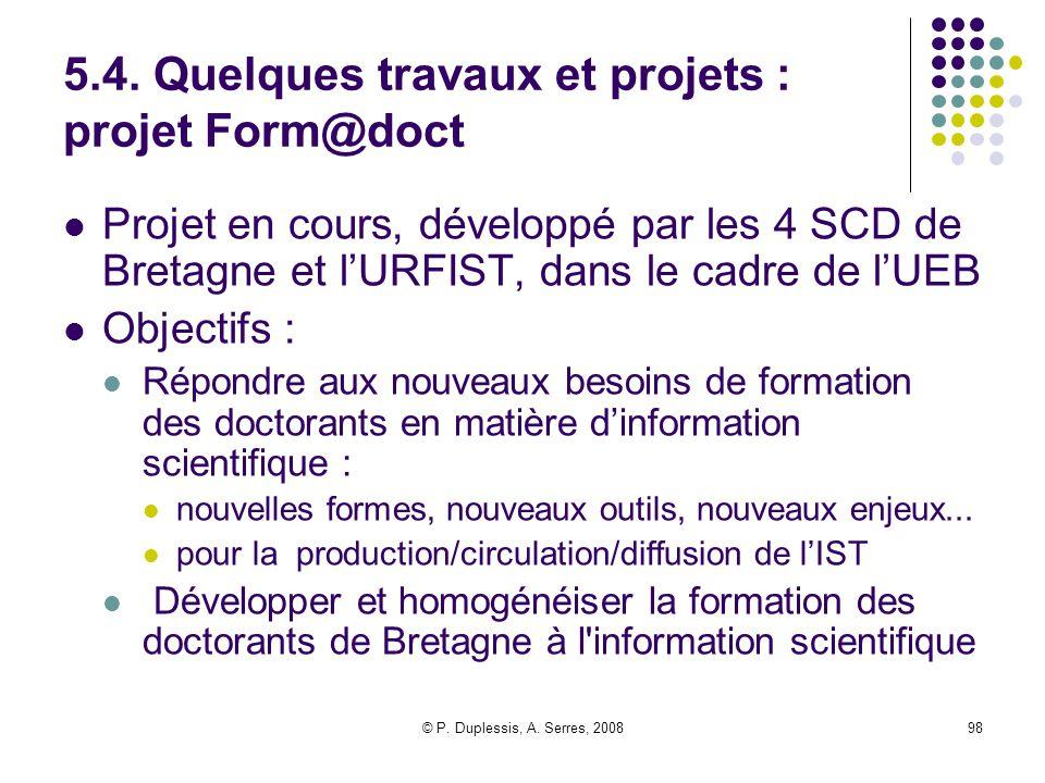 © P. Duplessis, A. Serres, 200898 5.4. Quelques travaux et projets : projet Form@doct Projet en cours, développé par les 4 SCD de Bretagne et l'URFIST
