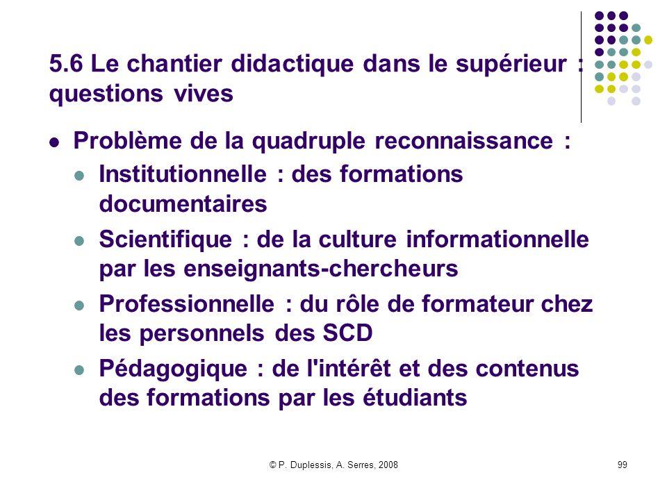 © P. Duplessis, A. Serres, 200899 5.6 Le chantier didactique dans le supérieur : questions vives Problème de la quadruple reconnaissance : Institution
