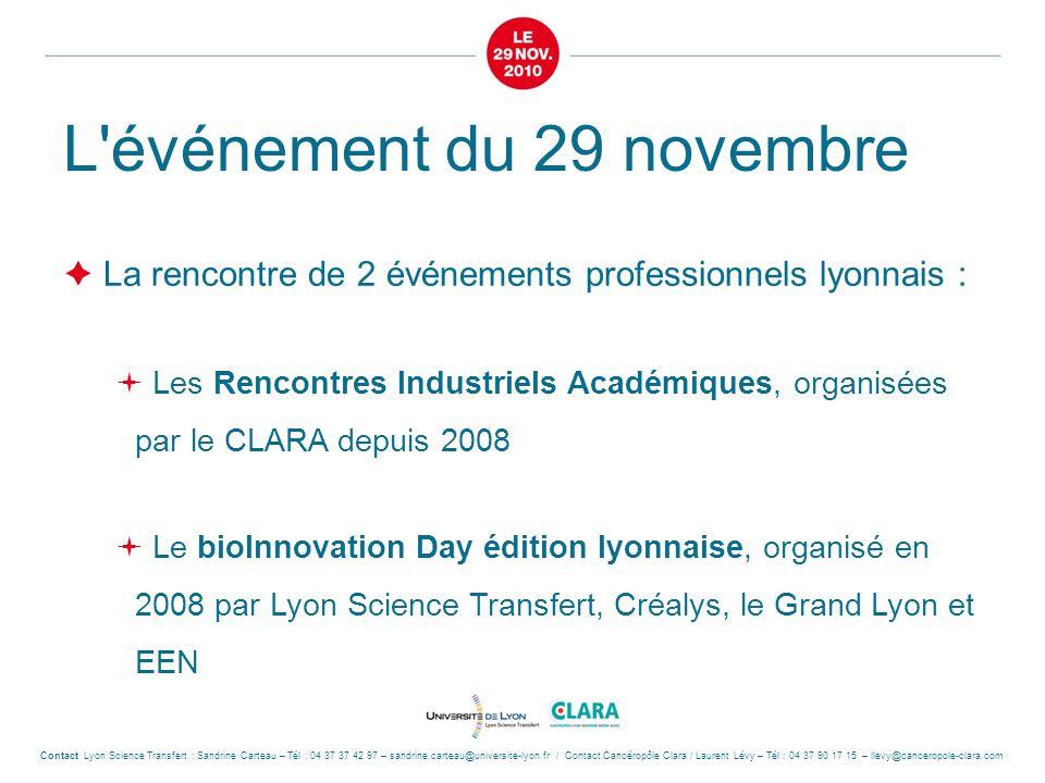 L'événement du 29 novembre  La rencontre de 2 événements professionnels lyonnais :  Les Rencontres Industriels Académiques, organisées par le CLARA