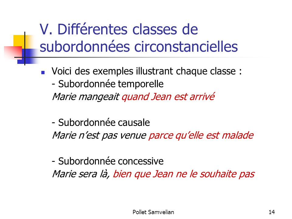 Pollet Samvelian14 V. Différentes classes de subordonnées circonstancielles Voici des exemples illustrant chaque classe : - Subordonnée temporelle Mar