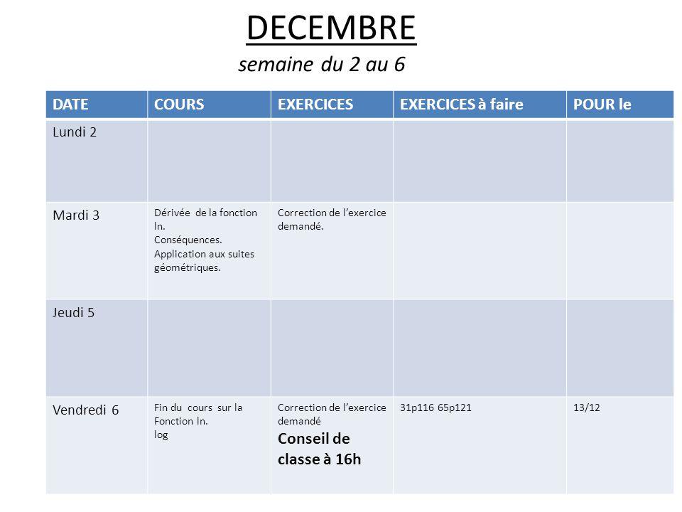 DECEMBRE semaine du 2 au 6 DATECOURSEXERCICESEXERCICES à fairePOUR le Lundi 2 Mardi 3 Dérivée de la fonction ln.