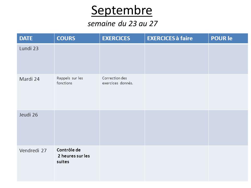 Septembre semaine du 23 au 27 DATECOURSEXERCICESEXERCICES à fairePOUR le Lundi 23 Mardi 24 Rappels sur les fonctions Correction des exercices donnés.
