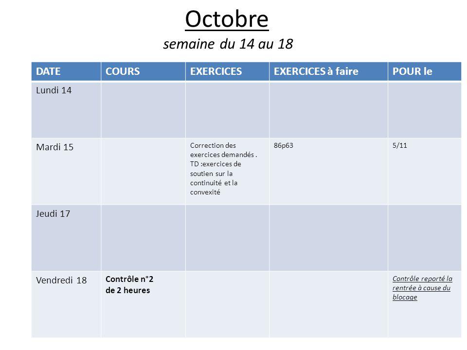 Octobre semaine du 14 au 18 DATECOURSEXERCICESEXERCICES à fairePOUR le Lundi 14 Mardi 15 Correction des exercices demandés.