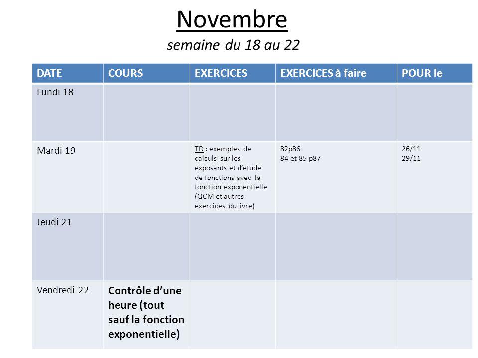 Novembre semaine du 18 au 22 DATECOURSEXERCICESEXERCICES à fairePOUR le Lundi 18 Mardi 19 TD : exemples de calculs sur les exposants et d'étude de fonctions avec la fonction exponentielle (QCM et autres exercices du livre) 82p86 84 et 85 p87 26/11 29/11 Jeudi 21 Vendredi 22 Contrôle d'une heure (tout sauf la fonction exponentielle)