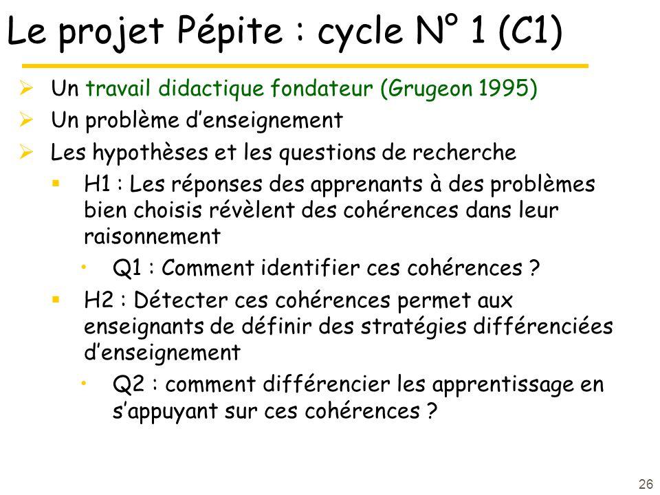 26 Le projet Pépite : cycle N° 1 (C1)  Un travail didactique fondateur (Grugeon 1995)  Un problème d'enseignement  Les hypothèses et les questions de recherche  H1 : Les réponses des apprenants à des problèmes bien choisis révèlent des cohérences dans leur raisonnement Q1 : Comment identifier ces cohérences .