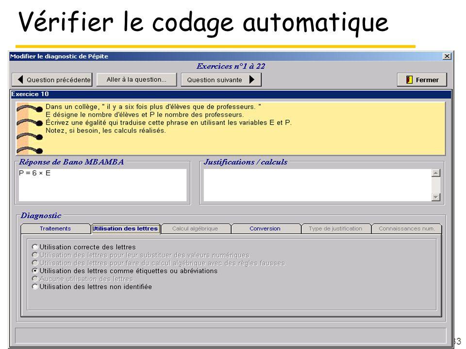 33 Vérifier le codage automatique