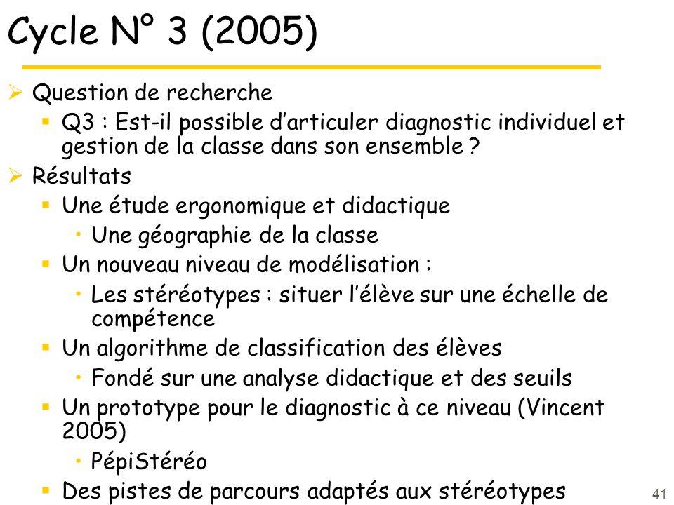 41 Cycle N° 3 (2005)  Question de recherche  Q3 : Est-il possible d'articuler diagnostic individuel et gestion de la classe dans son ensemble .