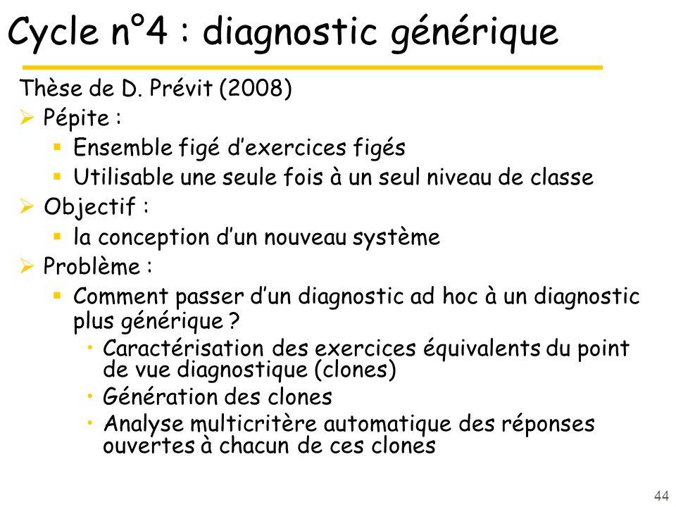 44 Cycle n°4 : diagnostic générique Thèse de D.