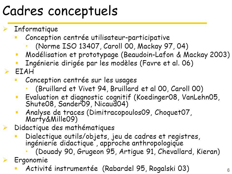 6 Cadres conceptuels  Informatique  Conception centrée utilisateur-participative (Norme ISO 13407, Caroll 00, Mackay 97, 04)  Modélisation et prototypage (Beaudoin-Lafon & Mackay 2003)  Ingénierie dirigée par les modèles (Favre et al.