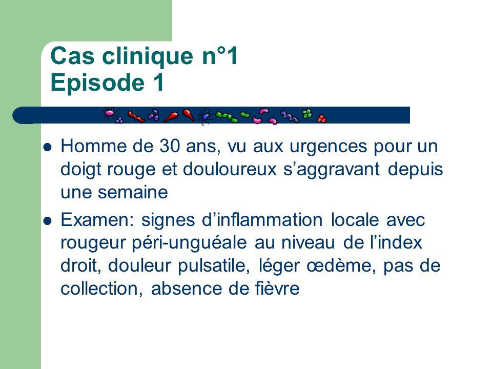 Cas clinique n°1 Episode 1 Homme de 30 ans, vu aux urgences pour un doigt rouge et douloureux s'aggravant depuis une semaine Examen: signes d'inflamma