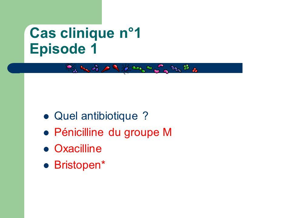 Cas clinique n°1 Episode 1 Quel antibiotique ? Pénicilline du groupe M Oxacilline Bristopen*