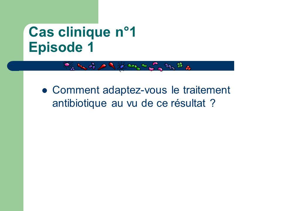 Cas clinique n°1 Episode 1 Comment adaptez-vous le traitement antibiotique au vu de ce résultat ?