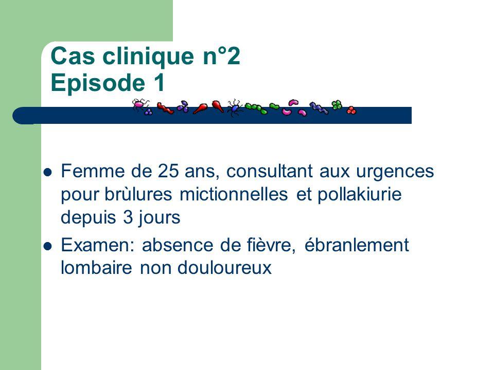 Cas clinique n°2 Episode 1 Femme de 25 ans, consultant aux urgences pour brùlures mictionnelles et pollakiurie depuis 3 jours Examen: absence de fièvr