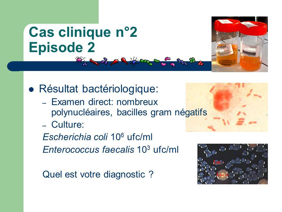 Cas clinique n°2 Episode 2 Résultat bactériologique: – Examen direct: nombreux polynucléaires, bacilles gram négatifs – Culture: Escherichia coli 10 6