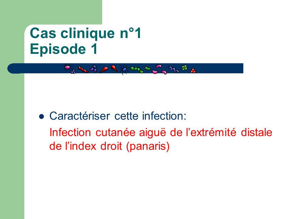 Cas clinique n°1 Episode 1 Caractériser cette infection: Infection cutanée aiguë de l'extrémité distale de l'index droit (panaris)