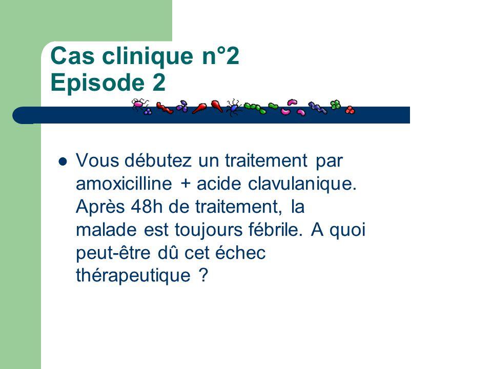 Cas clinique n°2 Episode 2 Vous débutez un traitement par amoxicilline + acide clavulanique. Après 48h de traitement, la malade est toujours fébrile.