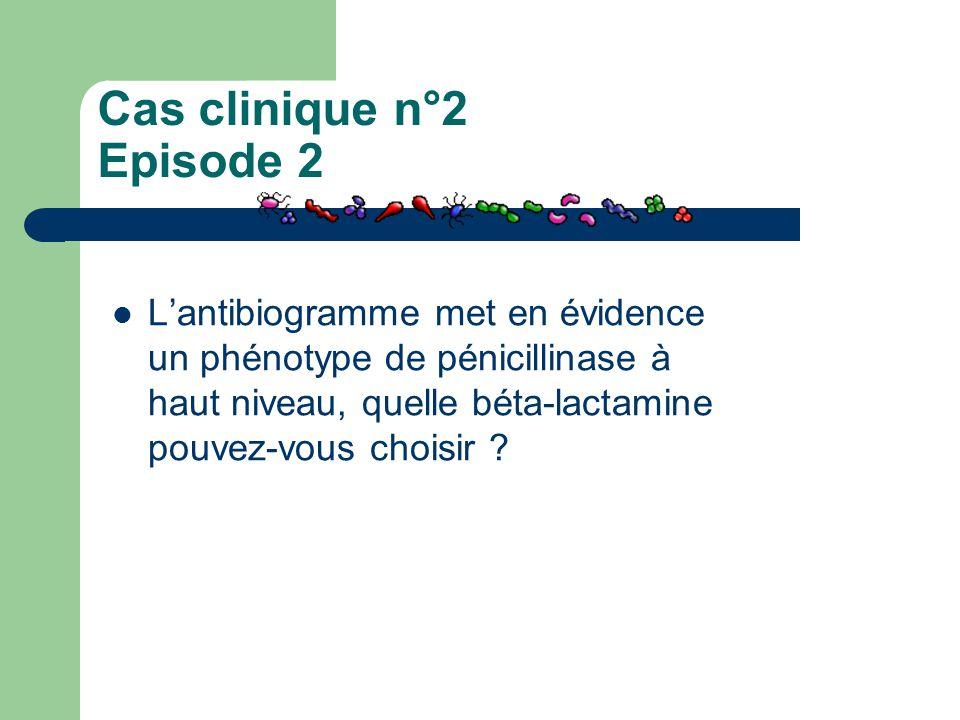 Cas clinique n°2 Episode 2 L'antibiogramme met en évidence un phénotype de pénicillinase à haut niveau, quelle béta-lactamine pouvez-vous choisir ?
