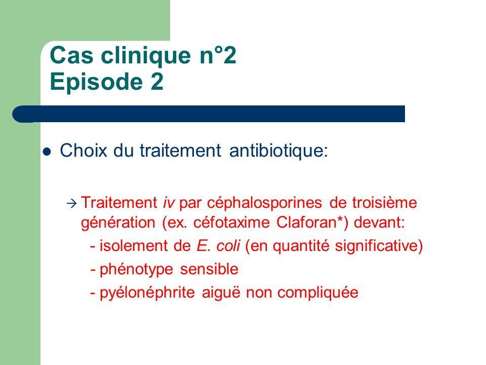 Cas clinique n°2 Episode 2 Choix du traitement antibiotique:  Traitement iv par céphalosporines de troisième génération (ex. céfotaxime Claforan*) de