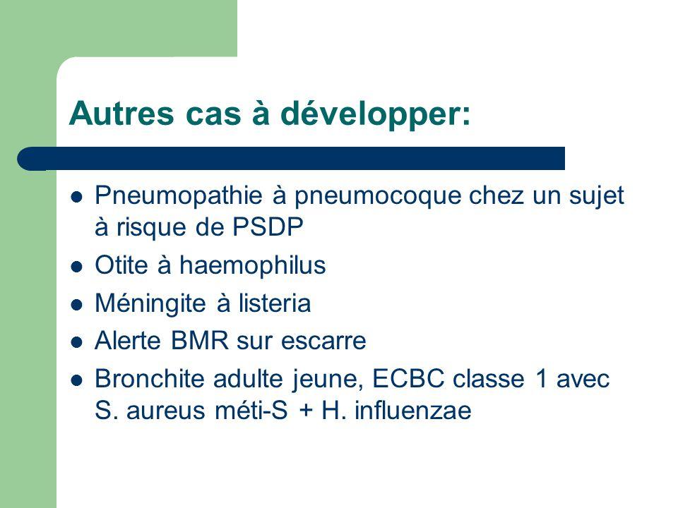 Autres cas à développer: Pneumopathie à pneumocoque chez un sujet à risque de PSDP Otite à haemophilus Méningite à listeria Alerte BMR sur escarre Bro