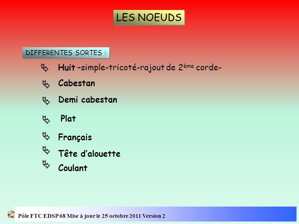 LES NOEUDS DIFFERENTES SORTES : Huit –simple-tricoté-rajout de 2 ème corde-  Cabestan  Demi cabestan  Plat  Français  Tête d'alouette  Coulant 