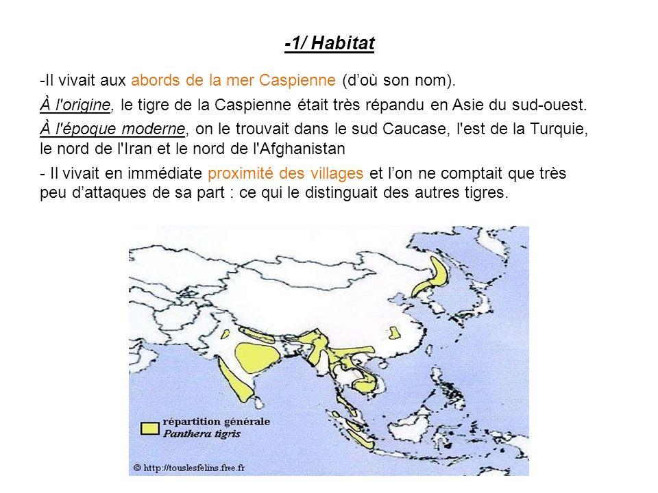 -1/ Habitat - Il vivait aux abords de la mer Caspienne (d'où son nom). À l'origine, le tigre de la Caspienne était très répandu en Asie du sud-ouest.