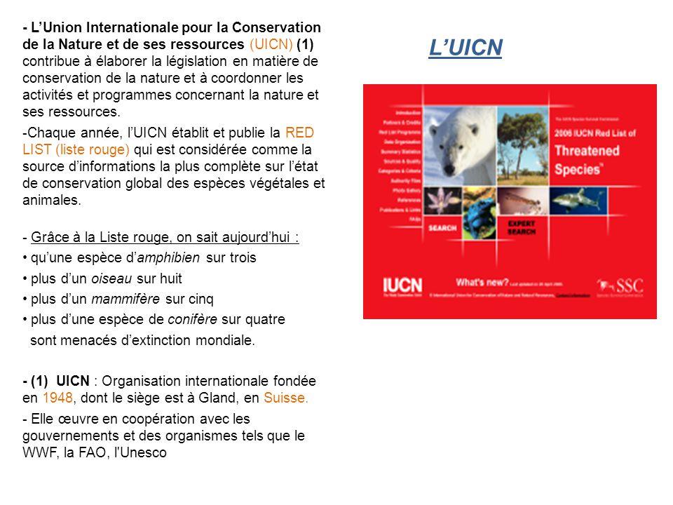 L'UICN - L'Union Internationale pour la Conservation de la Nature et de ses ressources (UICN) (1) contribue à élaborer la législation en matière de conservation de la nature et à coordonner les activités et programmes concernant la nature et ses ressources.
