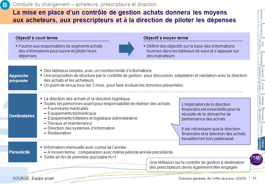 Direction générale de l'offre de soins - DGOS | 51 ▪ Des tableaux simples, avec un nombre limité d'informations ▪ Une proposition de structure par le
