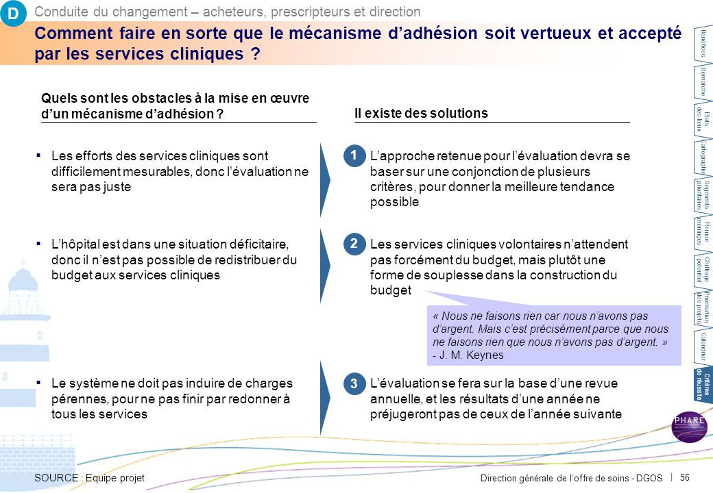 Direction générale de l'offre de soins - DGOS   56 Comment faire en sorte que le mécanisme d'adhésion soit vertueux et accepté par les services cliniq