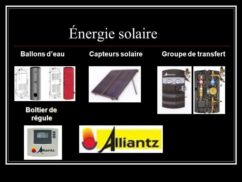 Énergie solaire Ballons d'eauCapteurs solaireGroupe de transfert Boîtier de régule