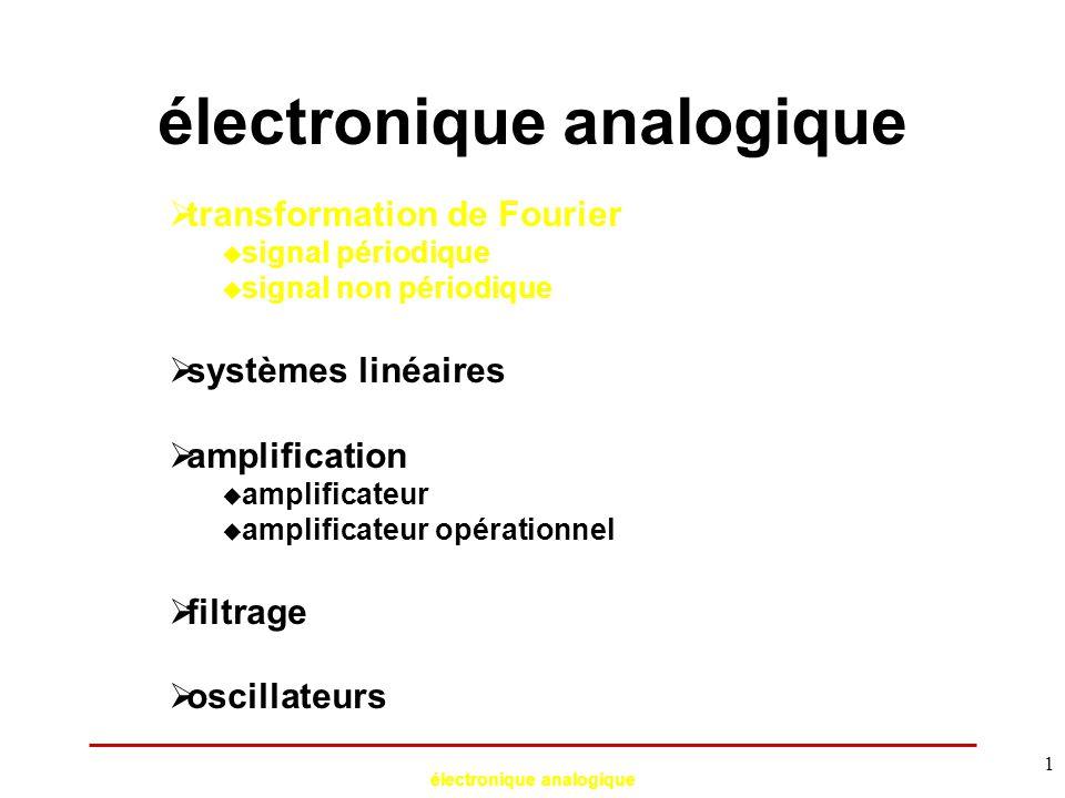 électronique analogique 2 transformation de Fourier : x(t) somme de signaux sinusoïdaux TF  si x(t) est périodique, sa TF est discrète :  si x(t) est non périodique, sa TF est continue :