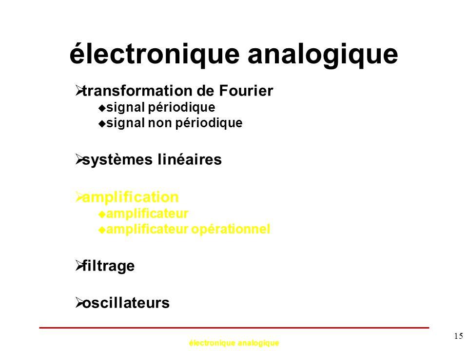 électronique analogique 15 électronique analogique  transformation de Fourier  signal périodique  signal non périodique  systèmes linéaires  ampl