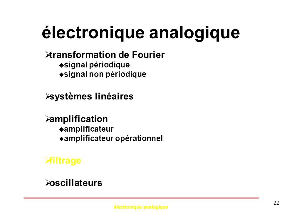 électronique analogique 22 électronique analogique  transformation de Fourier  signal périodique  signal non périodique  systèmes linéaires  ampl