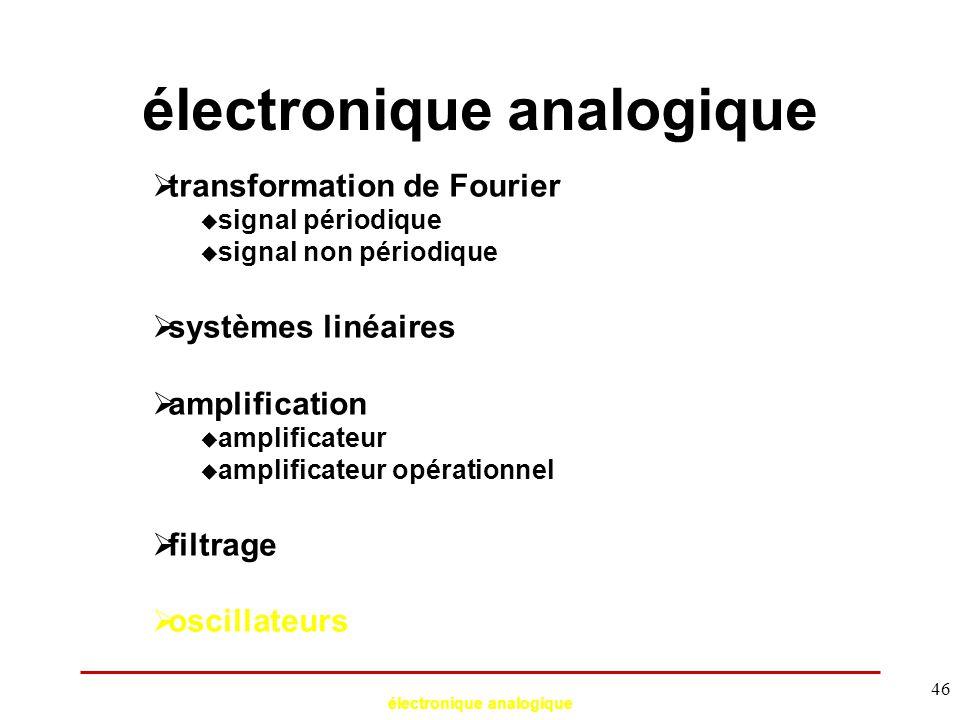 électronique analogique 46  transformation de Fourier  signal périodique  signal non périodique  systèmes linéaires  amplification  amplificateu