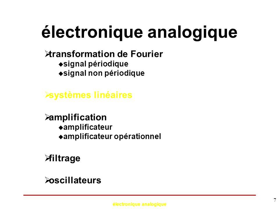 électronique analogique 58 Génération de signaux Oscillateurs à réseau déphaseur (BF) Exemple: oscillateur à pont de Wien A R C C R v1v1 v2v2 v 2 /v 1 doit être réel