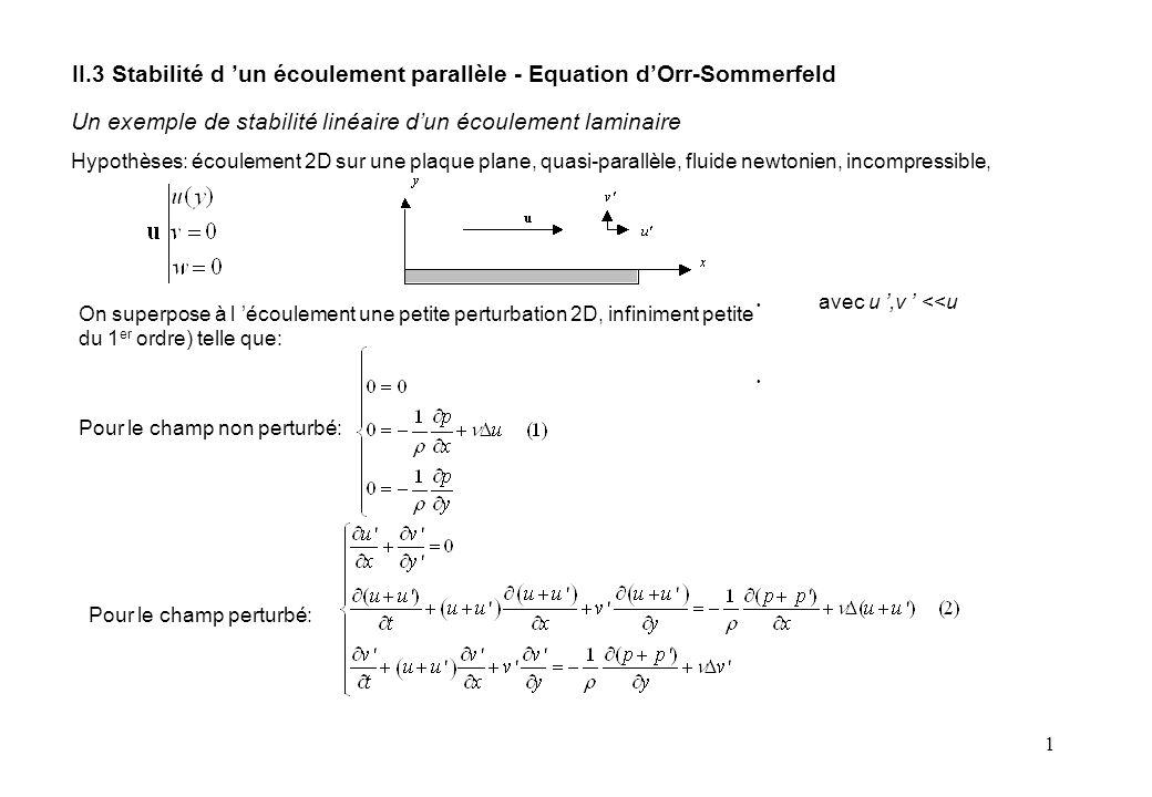 1 II.3 Stabilité d 'un écoulement parallèle - Equation d'Orr-Sommerfeld Un exemple de stabilité linéaire d'un écoulement laminaire Hypothèses: écoulement 2D sur une plaque plane, quasi-parallèle, fluide newtonien, incompressible, On superpose à l 'écoulement une petite perturbation 2D, infiniment petite du 1 er ordre) telle que: avec u ',v ' <<u Pour le champ non perturbé: Pour le champ perturbé: