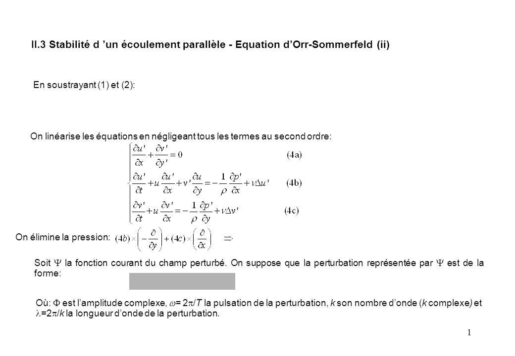 1 En soustrayant (1) et (2): On linéarise les équations en négligeant tous les termes au second ordre: On élimine la pression: Soit  la fonction courant du champ perturbé.