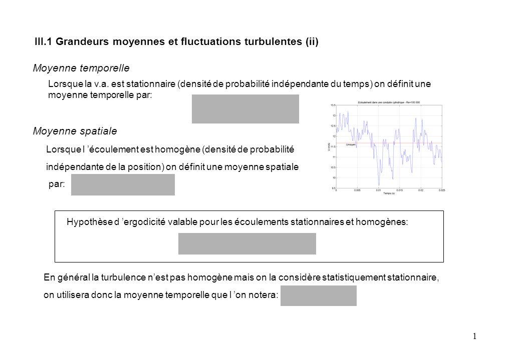 1 Lorsque l 'écoulement est homogène (densité de probabilité indépendante de la position) on définit une moyenne spatiale par: Lorsque la v.a.