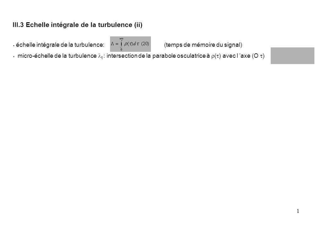 1 échelle intégrale de la turbulence: (temps de mémoire du signal) micro-échelle de la turbulence t : intersection de la parabole osculatrice à  (  ) avec l 'axe (O  ) III.3 Echelle intégrale de la turbulence (ii)