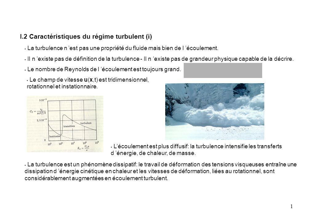 1 Equation de conservation du mouvement fluctuant: IV.3 Equations du mouvement fluctuant (i) S 'obtient par: Equation de conservation de l 'Energie cinétique du mouvement fluctuant: Variation de k Puissance des efforts extérieurs Dissipation visqueuse par le mvt.