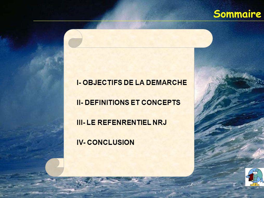 Sommaire I- OBJECTIFS DE LA DEMARCHE II- DEFINITIONS ET CONCEPTS III- LE REFENRENTIEL NRJ IV- CONCLUSION