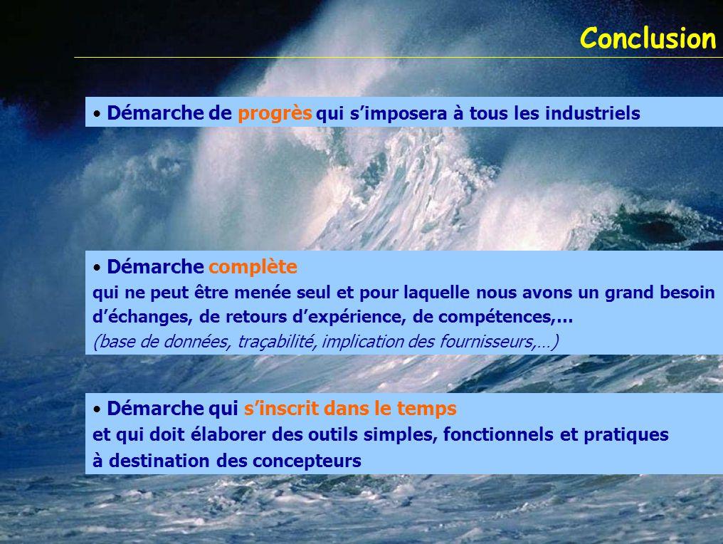 Conclusion Démarche de progrès qui s'imposera à tous les industriels Démarche complète qui ne peut être menée seul et pour laquelle nous avons un gran