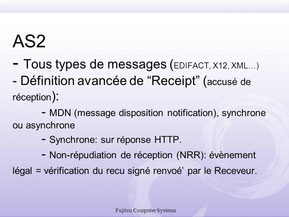 """Fujitsu Computer Systems AS2 - Tous types de messages ( EDIFACT, X12, XML…) - Définition avancée de """"Receipt"""" ( accusé de réception ): - MDN (message"""