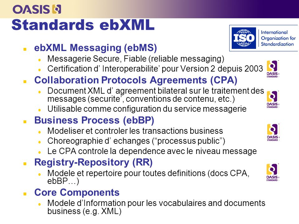 Fujitsu Computer Systems … <claim:insurance_claim_auto id= insurance_claim_document_id xmlns:claim= http://schemas.risky-stuff.com/Auto-Claim > SOAP header For ebMS3 SOAP header For WS-Sec Payload du message (partie business) Enveloppe SOAP