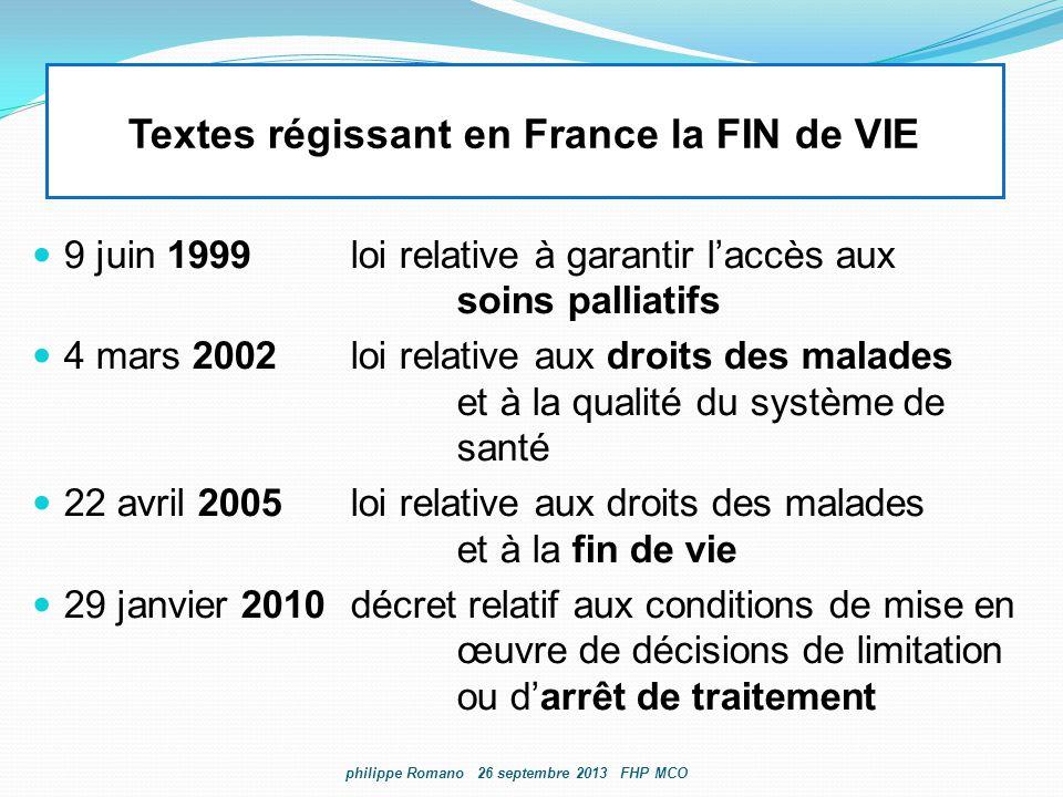Textes régissant en France la FIN de VIE 9 juin 1999loi relative à garantir l'accès aux soins palliatifs 4 mars 2002loi relative aux droits des malade