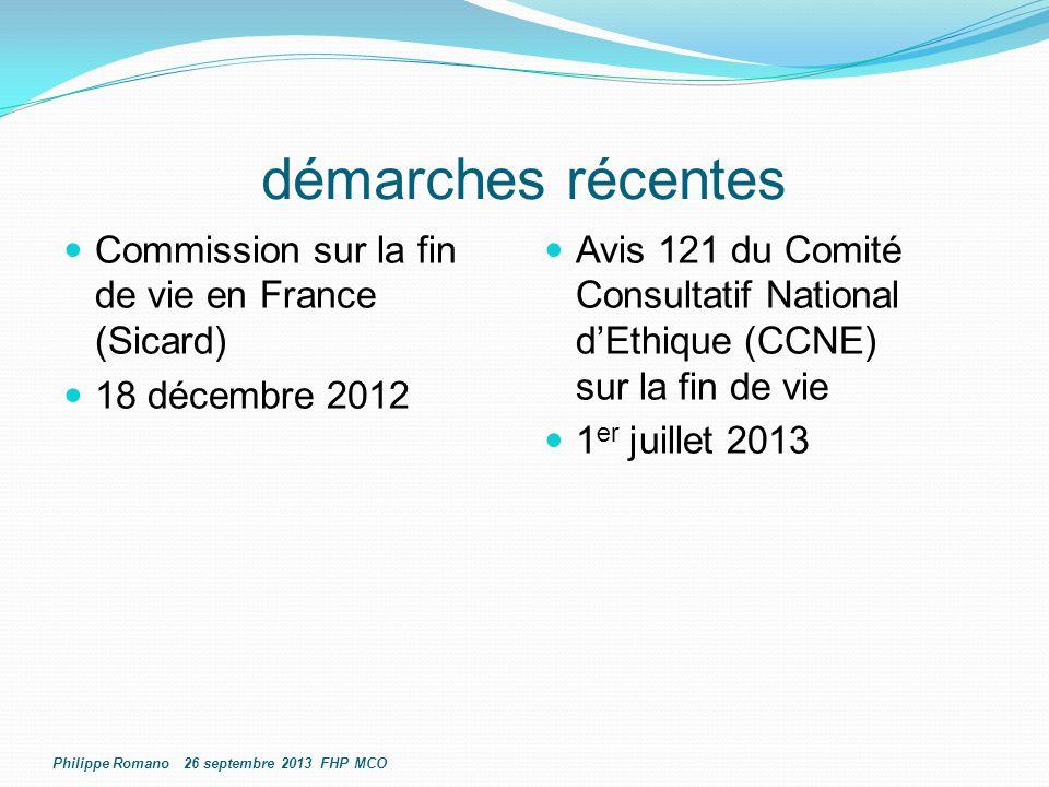 démarches récentes Commission sur la fin de vie en France (Sicard) 18 décembre 2012 Avis 121 du Comité Consultatif National d'Ethique (CCNE) sur la fi