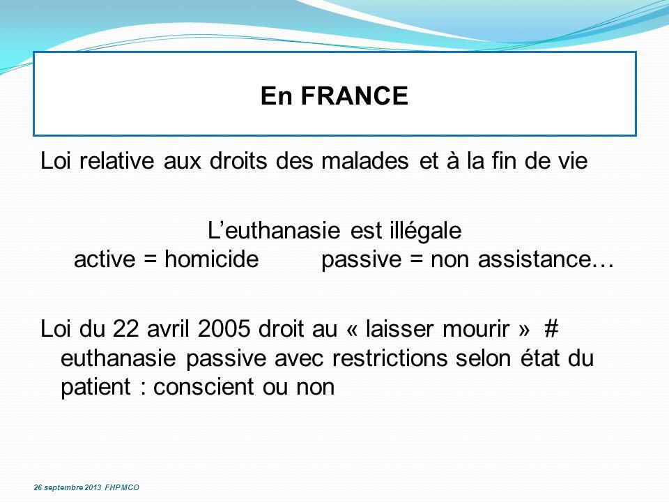 En FRANCE Loi relative aux droits des malades et à la fin de vie L'euthanasie est illégale active = homicidepassive = non assistance… Loi du 22 avril